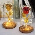 2020 Новый Рождественский подарок красные блестящие Искусственные цветы Роза Красавица и чудовище в стеклянном куполе гирлянда подарок на д...