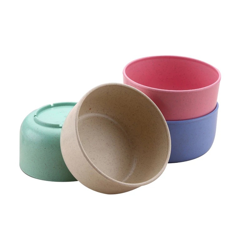 Baby Feeding Bowl Eco-friendly Kids Plate Food Grade Wheat Straw Solid Color Round Dish Children Dinnerware Infant Bowls MBG0466