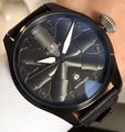 Marca de luxo novos homens automático mecânico piloto da marinha limitada safira aço inoxidável caso preto completo lona couro relógio aaa