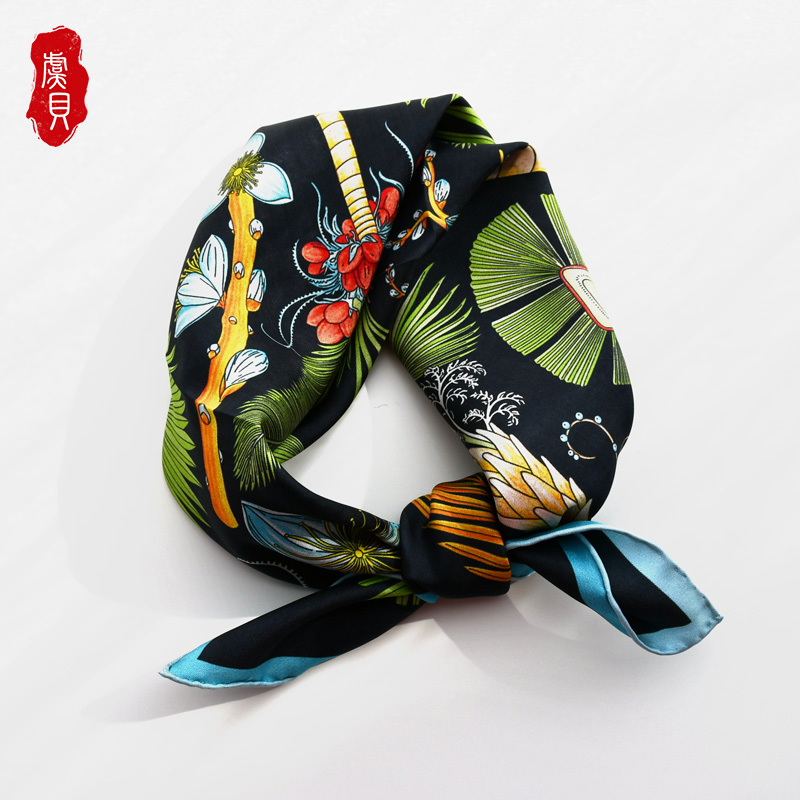 Luxury black natural silk scarf printed trees for women 100% real silk high quality medium square soft wrap shawl gift for lady|Women's Scarves| - AliExpress