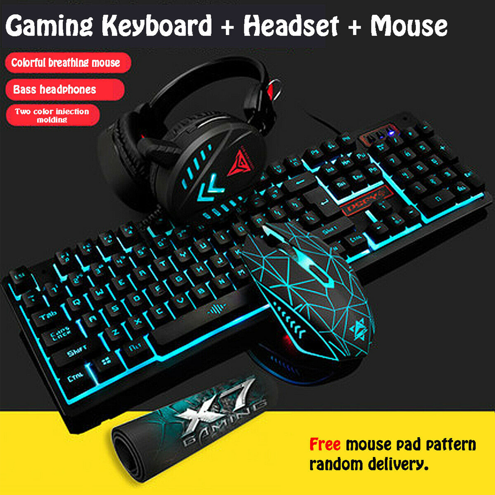 Universal USB Keyboard And Mouse Headset Set LED Backlight Mechanical Keyboard Electronic Headset For Laptop PC With Mouse Pad
