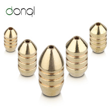 DONQL 5pcs Brass Weight Sinker Easily Sink Bullet Brass Weights For Inline Spinner Lure Swivel Sinker For Fishing Tackle 10pcsbrass tickers brass lure bodies brass weight sinker diy spinner buzzbait fishing lures