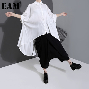 [EAM] Women White Back Long Brief Big Gsize Blouse New Lapel Half Sleeve Loose Fit Shirt Fashion Tide Spring Summer 2020 1W594