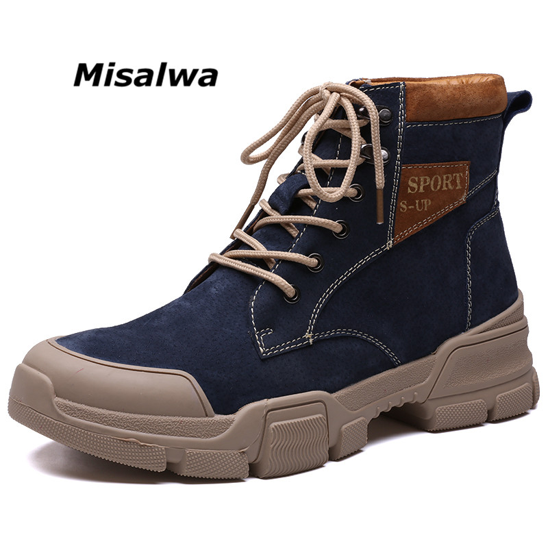 Misalwa High Top Men Boots New Autumn Desert Tactical Shoes Outdoor Male Lace-up Working Ankle Booties Round Toe Combat Boots