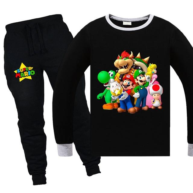 2020 Super Mario Bros Garfield Pajamas Casual Sets Cotton Full Sleeves T shirt + Pants Boys Girls Children Clothing 6-14years