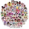 Куклы-сюрпризы lol, 100 шт., наклейки с героями мультфильмов не повторяются, водонепроницаемые наклейки для чемодана, блокнота, детские игрушки...