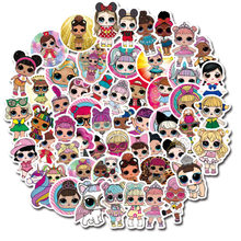 Lol surpresa bonecas 100 pçs não repetir etiqueta dos desenhos animados à prova dwaterproof água bagagem notebook adesivos crianças brinquedos presente