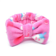 Creative Stripe Strawberry Leopard Print Coral Fleece Bow Headband Soft Elastic Hairband Women Girls Wide Hair Hoop Accessories(China)