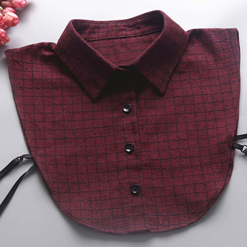 Женская Съемная манишка с высоким воротом Сплошной Цвет Ретро клетчатая Половина Рубашка Блузка регулировать одежду аксессуары