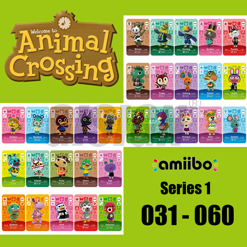 New Horizons Amiibo Animal Crossing Card For NS Switch 3DS Game Marshal Card Set NFC Cards Series 1 (031 To 060)