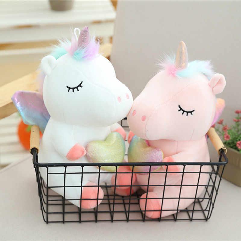 Preço especial 25cm unicórnio brinquedo de pelúcia com asas do arco-íris macio recheado dos desenhos animados unicórnio bonecas animal cavalo brinquedos da menina da criança presente