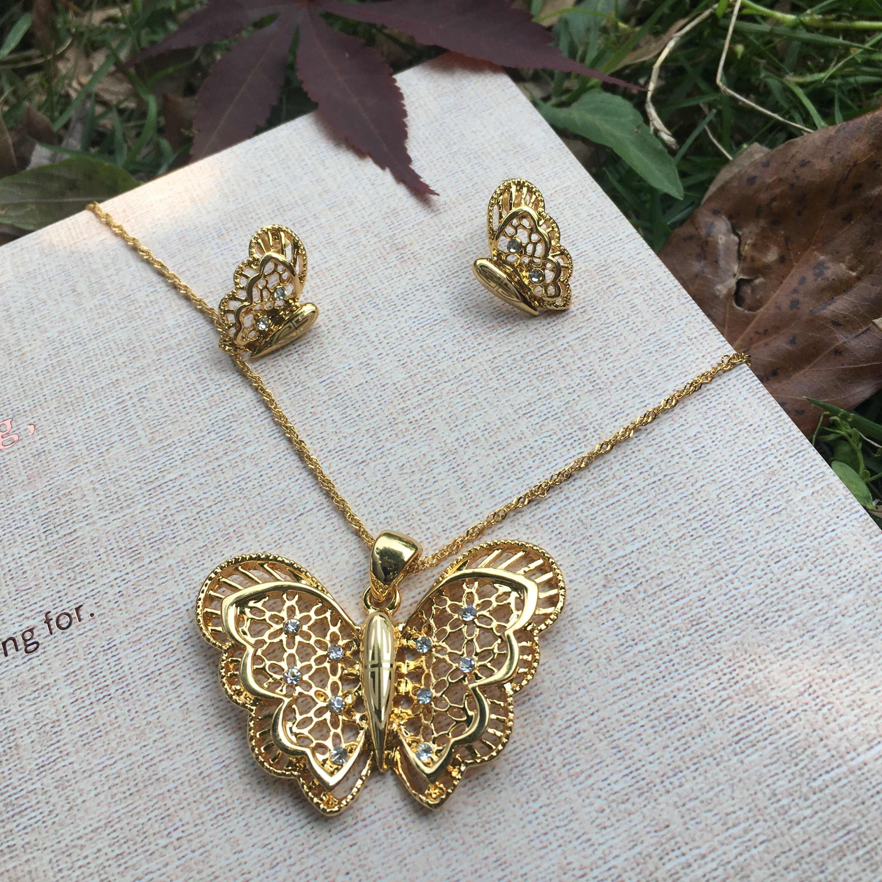Ethlyn Ethiopian Set Perhiasan Kalung Anting-Anting Cincin Emas Warna Afrika Bridal Butterfly Set Habesha Eritrea Pernikahan Sudan