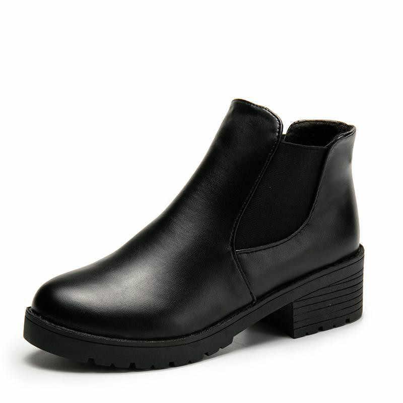 New Hot Phong Cách Thời Trang Giày Bốt Nữ Đầu Tròn Đáy Dày Da PU Chống Thấm Nước Người Phụ Nữ Martin Cao Đến Mắt Cá Chân Mùa Xuân/Mùa Thu 2019