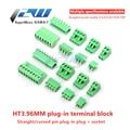 10 комплектов клеммных вилок типа 300 В 10A HT3.96 3,96 мм винтовой клеммный разъем PCB прямой/изогнутый контактный разъем 2/3/4/5/6/7/8/9/10P