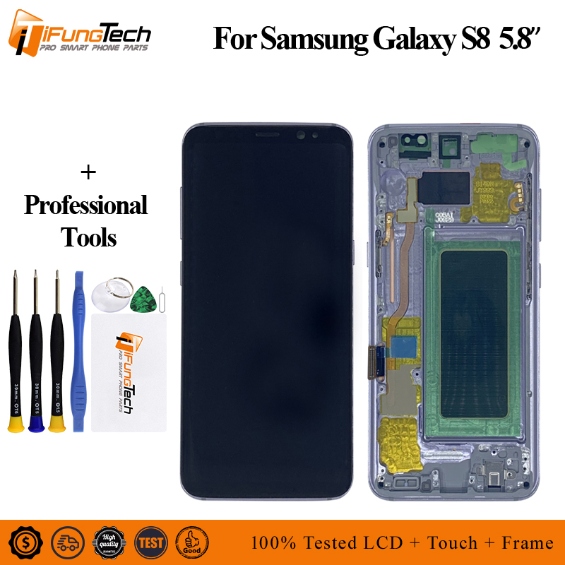For <font><b>Samsung</b></font> Galaxy <font><b>S8</b></font> G950F G950U <font><b>G950FD</b></font> Lcd With Frame <font><b>Display</b></font> Touch Screen Digitizer Burn-in Shadow lcd image