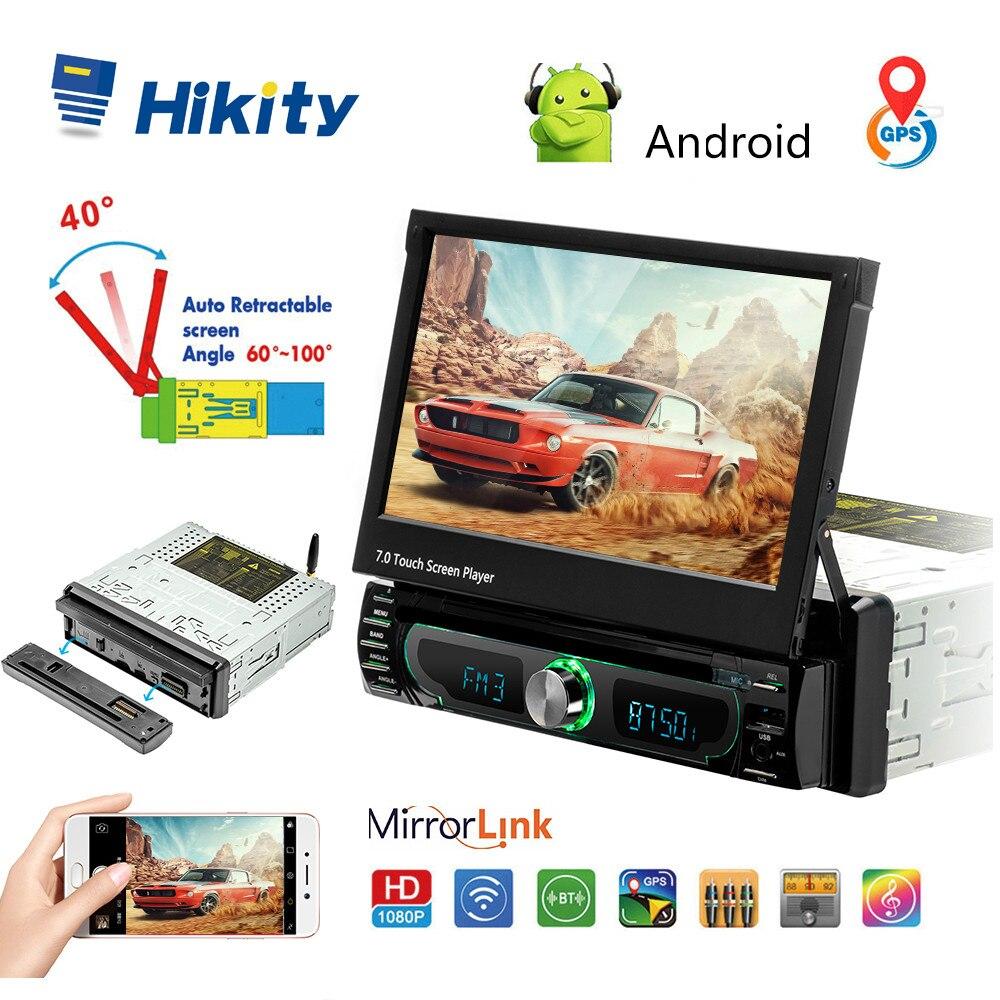 Hikity Android 1 din Autoradio 7 pouces GPS Autoradio voiture multimédia MP5 lecteur DVD Support caméra de vue arrière avec lien de miroir