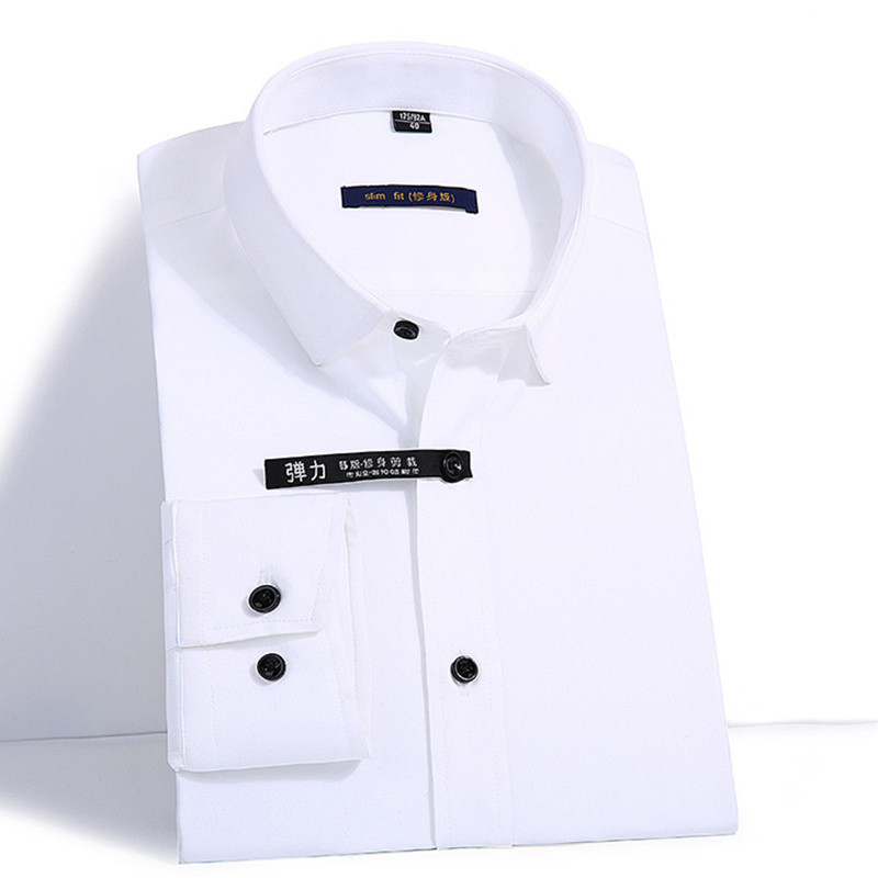 Elasticity Slim Fit Men Dress Casual Long Sleeved Shirt White Black Blue Red Male Social Formal Shirt Classic Solid Color Design