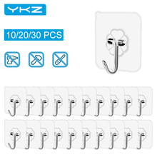 Wall-Hooks for Kitchen Bathroom Office 30pcs Adhesive Seamless Transparent Waterproof