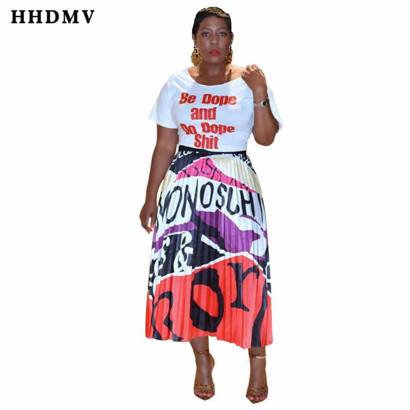 HHDMV PN6225 רחוב מקרית סגנון סטים קצר שרוול אותיות למעלה אלסטי אותיות קרסול-אורך קפלים חצאית שתי חתיכה סטים