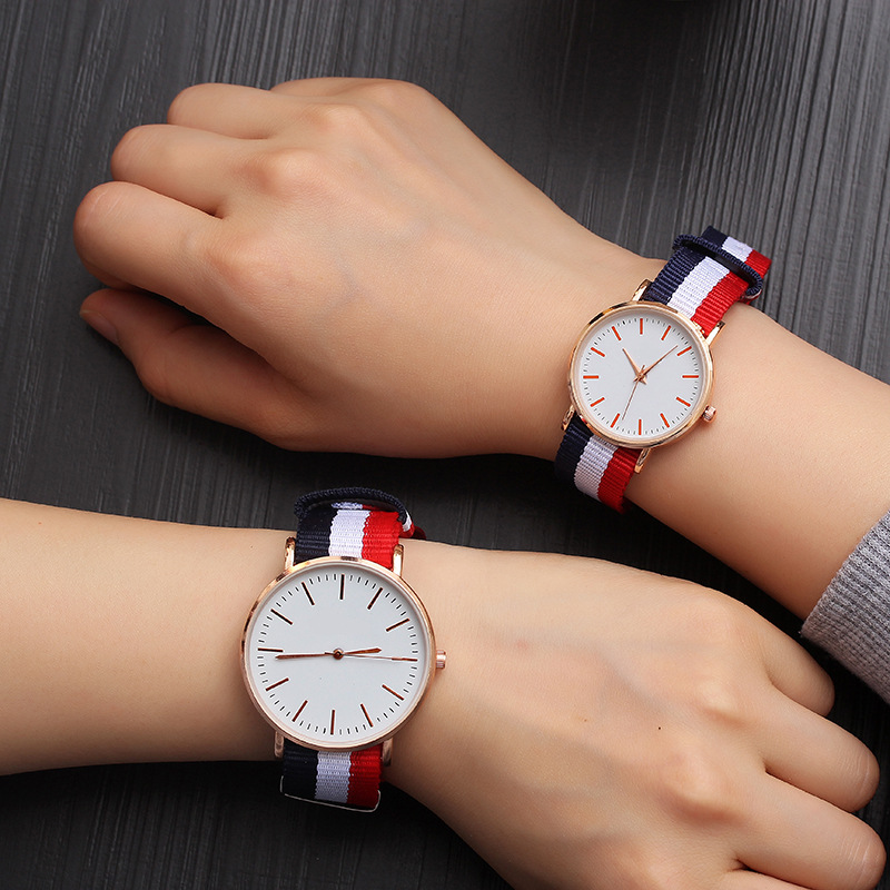 Fashion Canvas Couple Quartz Watches Men Women Casual Multi-color Ultra-thin  Style Watch Simple Designed Watches For Lovers