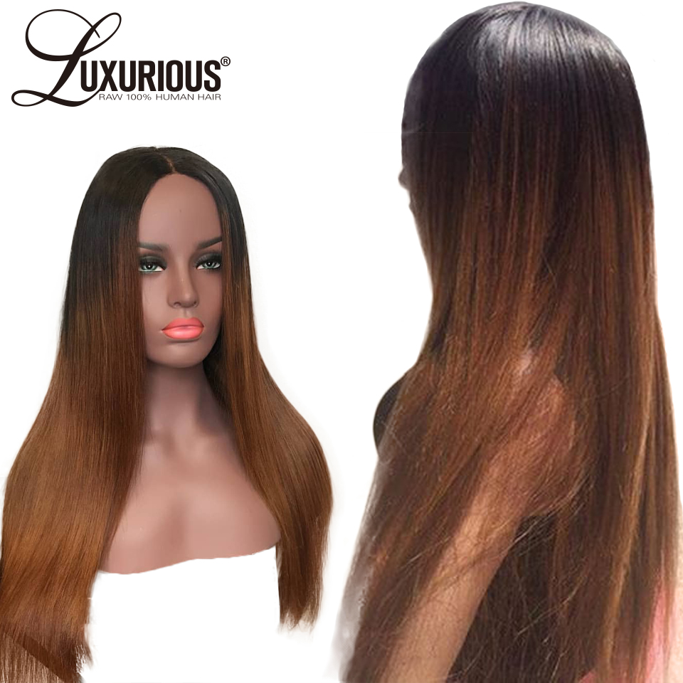 Glueless Lace Front Human Hair Wigs For Women Straight Brazilian Remy Hair Pre Plucked 1b/4/30 Ombre Colored Human Hair Wigs