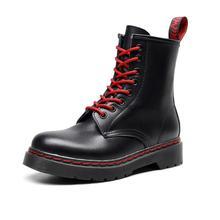 Botas de tacón grueso para motocicleta para mujer, botas de gran tamaño, zapatos de cuero genuino, botas de tacón plano vintage con cordones rojos para mujer zy742