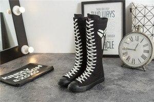 Nouvelle toile lumineuse chaussures haut tube décontracté chaussures de danse grande taille couple chaussures pour femmes