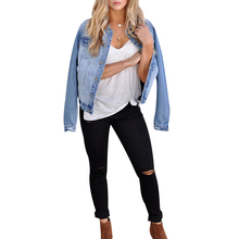 купить 2019 Hot Women's Jacket Denim Jacket Button Up Coat Streetwear Solid Fashion Sexy Vintage Jean Jackets Full Sleeve Outwear D25 по цене 1193.2 рублей