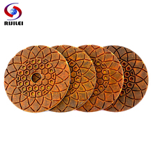 RIJILEI 4PCS Wet/Dry 4/100mm Copper metal bonded Diamond polishing pads for concrete granite marble stone Grinding Disc
