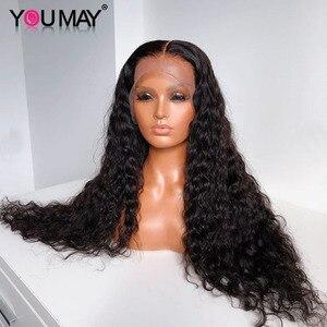 Lose Wellung 250 Dichte 13X6 Spitze Front Menschliches Haar Perücken 360 Spitze Frontal Perücke Brasilianische Remy Haar Wasser Welle 30 zoll Full Sie Kann