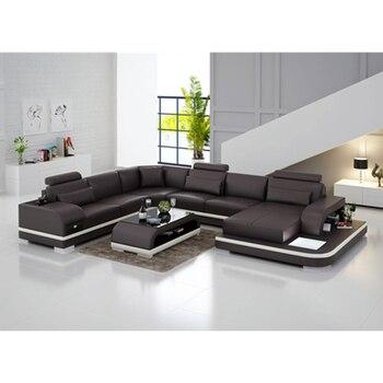 Sofá moderno de cuero genuino, sofá de Sala, sofá de cuero de alta calidad