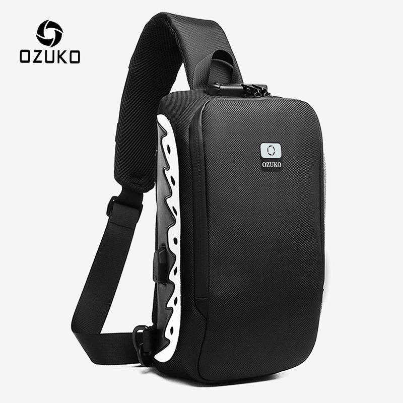 OZUKO New Men Shoulder Bag Anti-theft Crossbody Bag Splashproof Male Messenger Bags Fashion Reflective Sling Bag for Teenagers