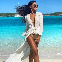 Praia longo maxi vestido mulher praia cobrir túnica pareo branco com decote em v vestido robe banho beachwear vestidos casuais