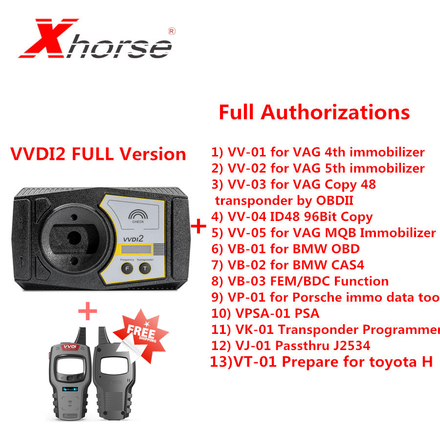 Original Xhorse V6.7.0 VVDI2 Full Kit With 13 Kinds Full Authorizations Send VVDI Mini Key Tool As A Gift