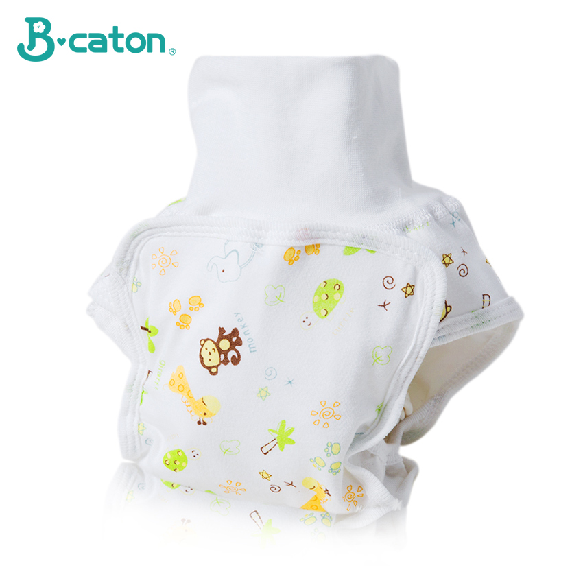 Baby Reusable Diapers Pants Cotton  Cloth Diapers Baby  Pants High Waist Soft Elastic Umbilical Cord Protection Tpu Waterproof