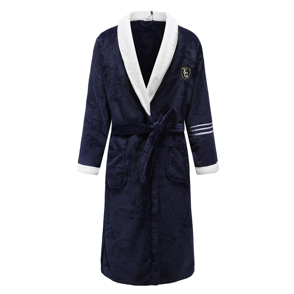Nightwear Kimono Navy Blue Men Sleepwear Flannel Bathrobe Nightgown Soft Lovers Kimono Gown Home Clothing Intimate Lingerie