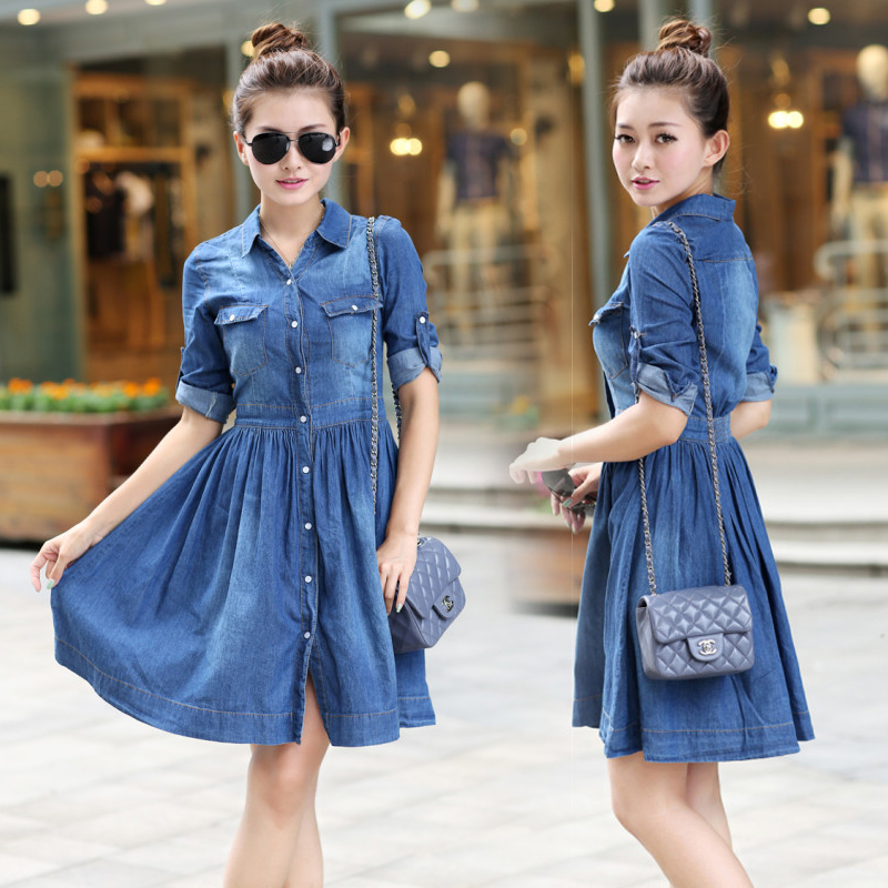 2019 New Spring Summer Fashion Plus Size Ladies' Blue Denim Long Dress Slim Women's Casual Women's Jeans Dresses S-XXXXL