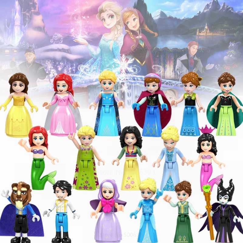 الأميرة مجموعة عمل أرقام آنا إلسا حسناء الوحش الجنية العرابة ألعاب مكعبات البناء متوافق مع الأصدقاء لفتاة الهدايا