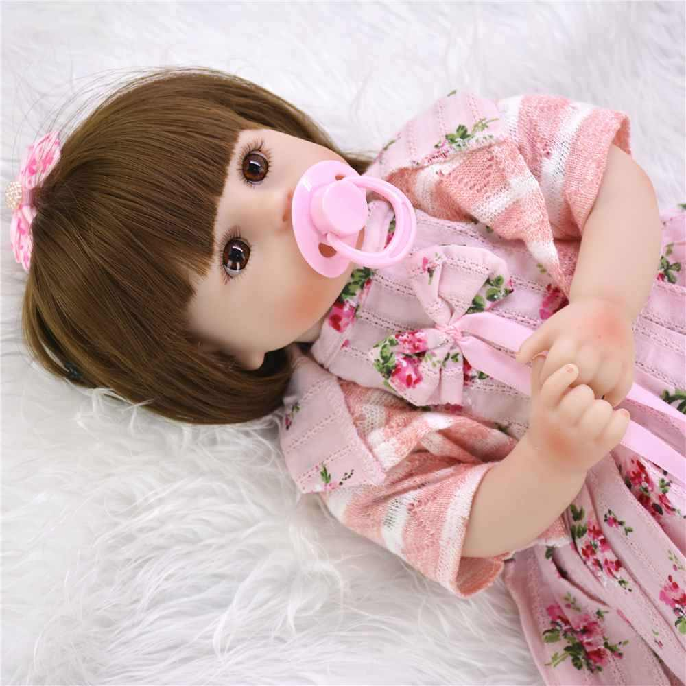 Mignon doux vinyle Reborn poupée bébés réaliste princesse fille poupée bébé jouet charmant Bonecas renaître pour les enfants Playmate longs cheveux