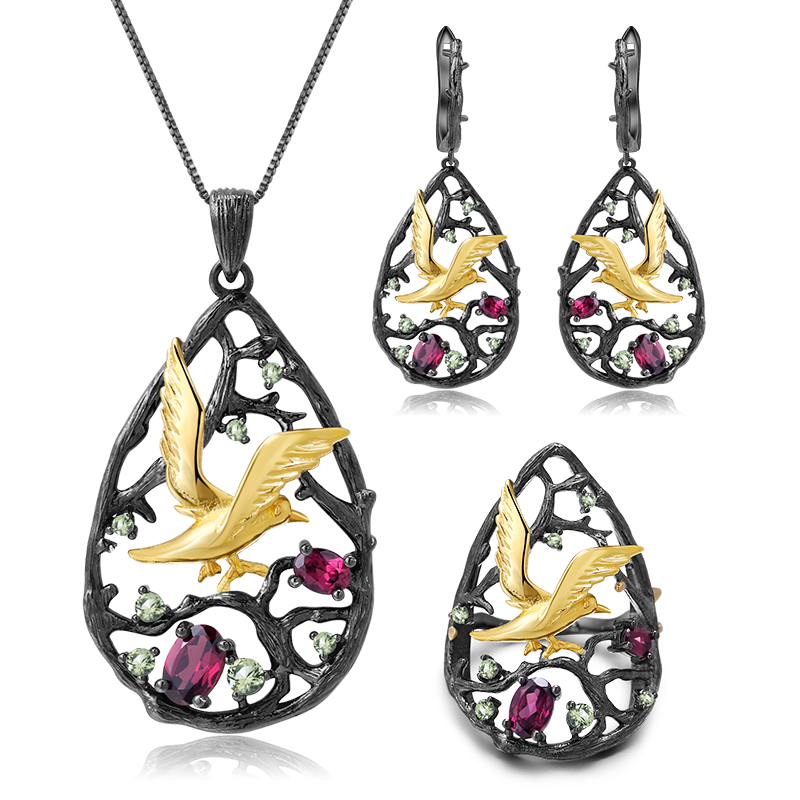 GEM'S BALLET Natural Garnet 925 Sterling Silver vintage Necklace Sets Handmade Originality Bird Tree for Women Fine Jewelry