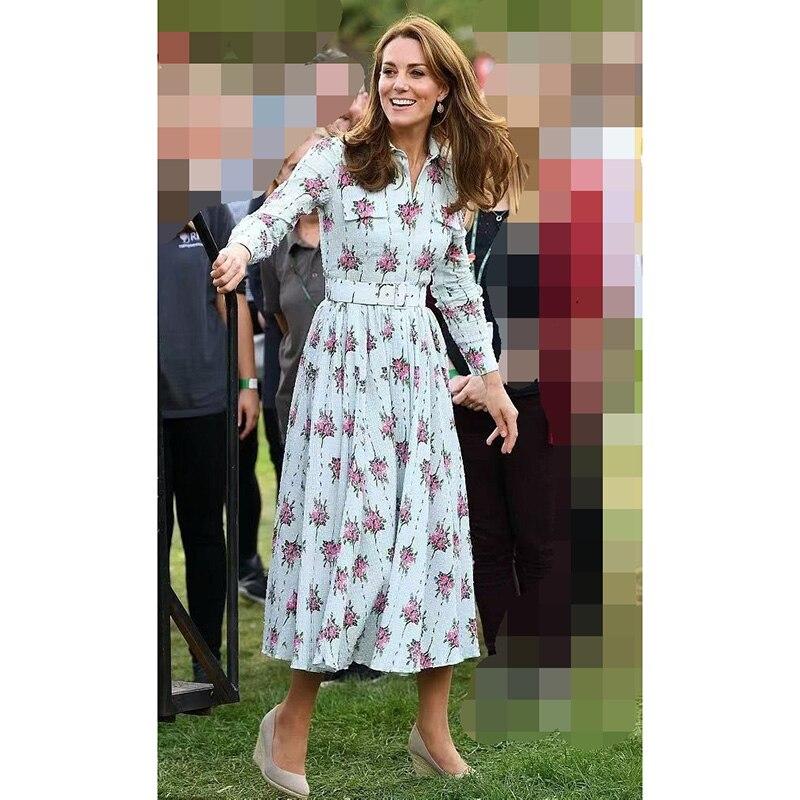 Princess Kate Middleton Dress 2019 Women Turn-Down Collar Long Sleeve Printed Sashes Elegant Dresses Work Wear Clothes  NP0812C