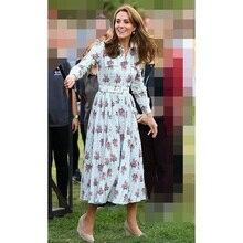 Prinzessin Kate Middleton Kleid 2020 Frauen Drehen unten Kragen Langarm Gedruckt Schärpen Elegante Kleider Arbeit Tragen Kleidung NP0812C