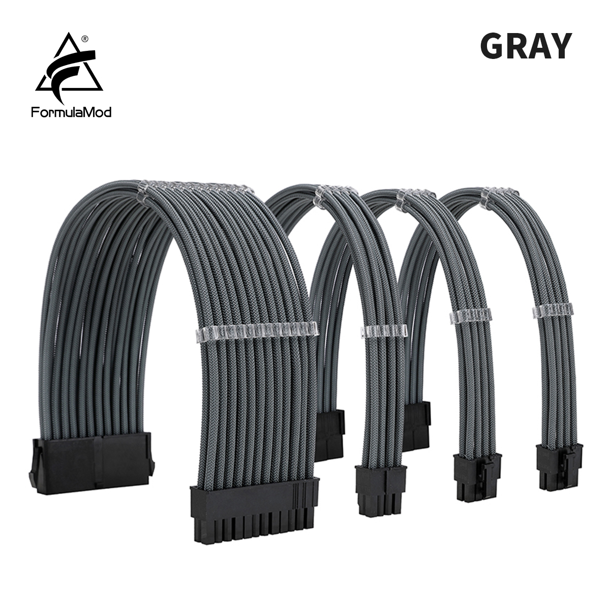 FormulaMod NCK1 Series PSU Extension Cable Kit , Solid Color Cable Solid Combo 300mm ATX24Pin PCI-E8Pin CPU8Pin With Combs