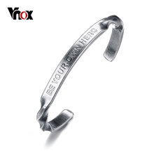 "Vnox Engraved ""Be Your Own Hero"" Inspired Cuff Bracelet for Women Bangle High Quality Stainless Steel Female Jewelry Gift(China)"
