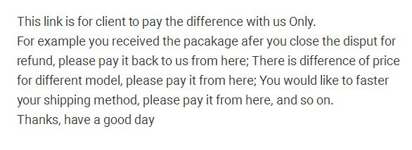 For The Purpose Of Price Difference Pay Back Only