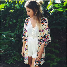 Swim Cover Up Tunics for Beach Print Pareos 2019 New Para Playa Kaftans Bikini Wear