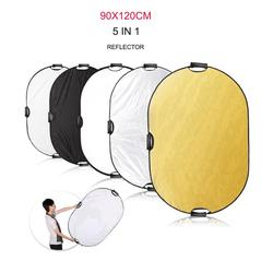48120cm 5 in 1 Portable Collapsible Light Oval Photography White Silvery Gold Reflector for Studio Multi Photo Disc Diffuers
