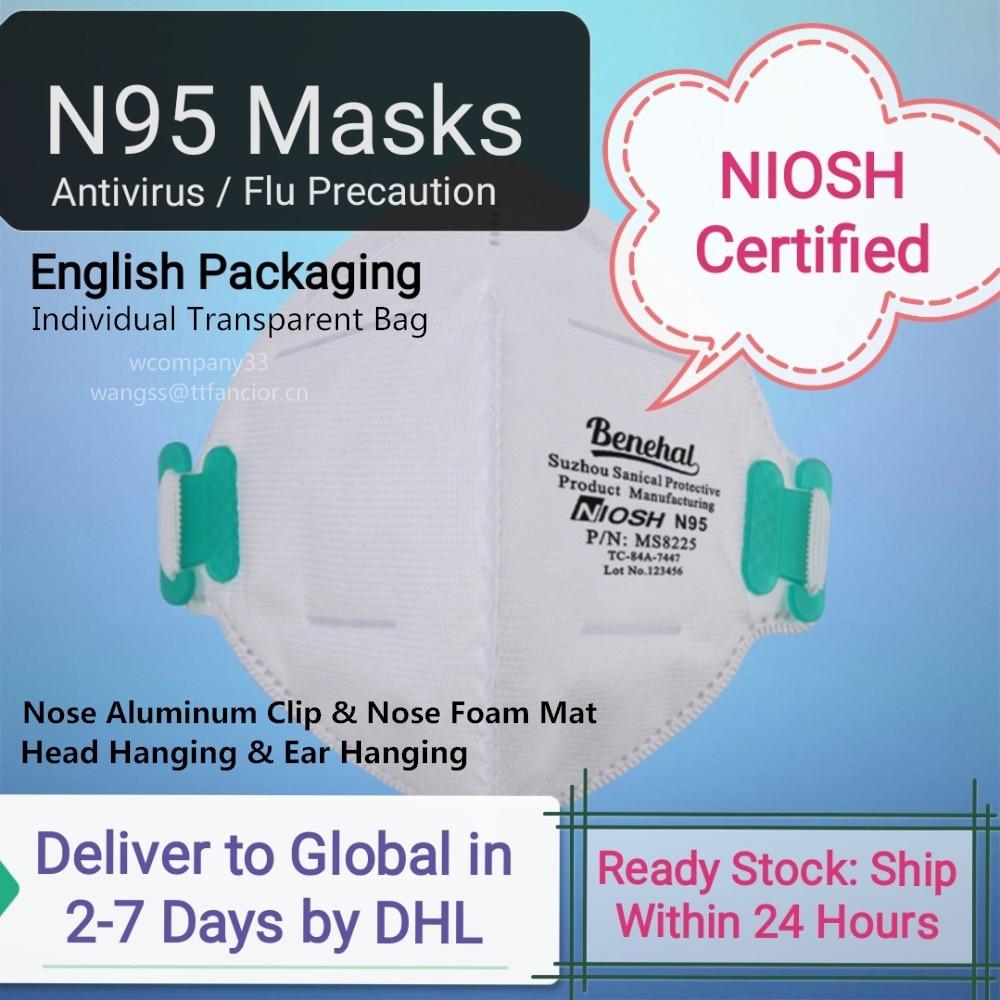 5-20 PCS NIOSH Approved N95 Masks Respirator 6-Layer Benehal Maskin KN95 Antivirus Reusable Face Mouth Mask Flu Precaution