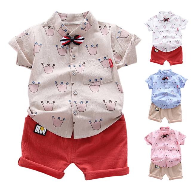 Children Baby Boys Clothes Short Sleeve Cute Crown Pattern T-shirt Blouse+Shorts Casual Outfits Set 26
