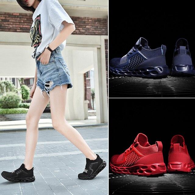 Zapatillas de correr para hombre y mujer, zapatos deportivos transpirables con cordones de alta calidad para caminar al aire libre 6
